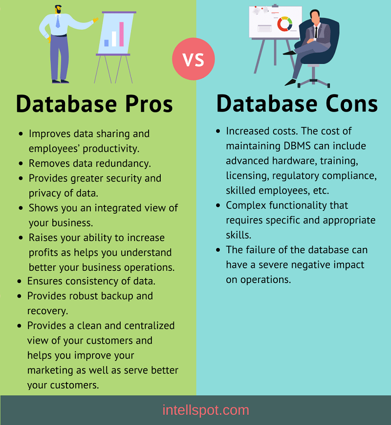 The pros and cons of a database for business - infographic