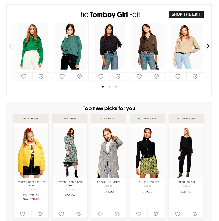 Topshop-Top-New-Picks-For-You - AI in E-commerce example