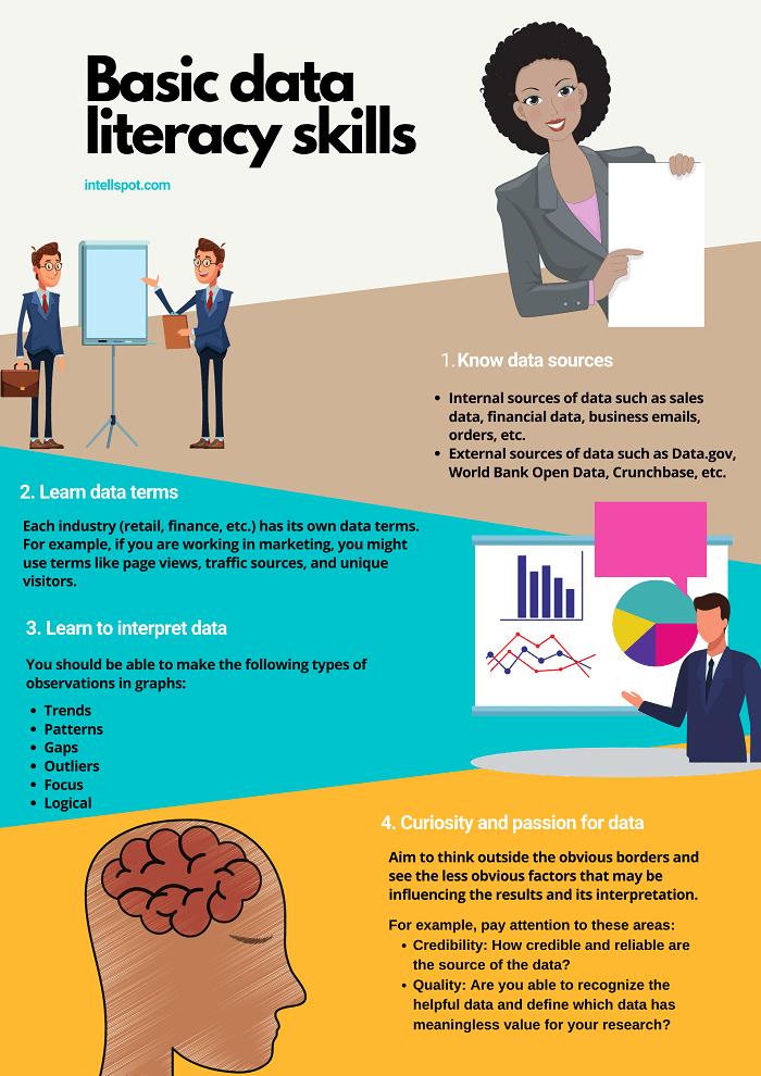 Basic data literacy skills - infographic